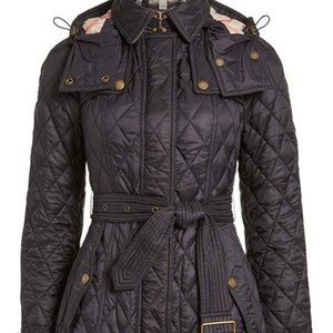New Burberry Finsbridge Quilted Check Lined Coat